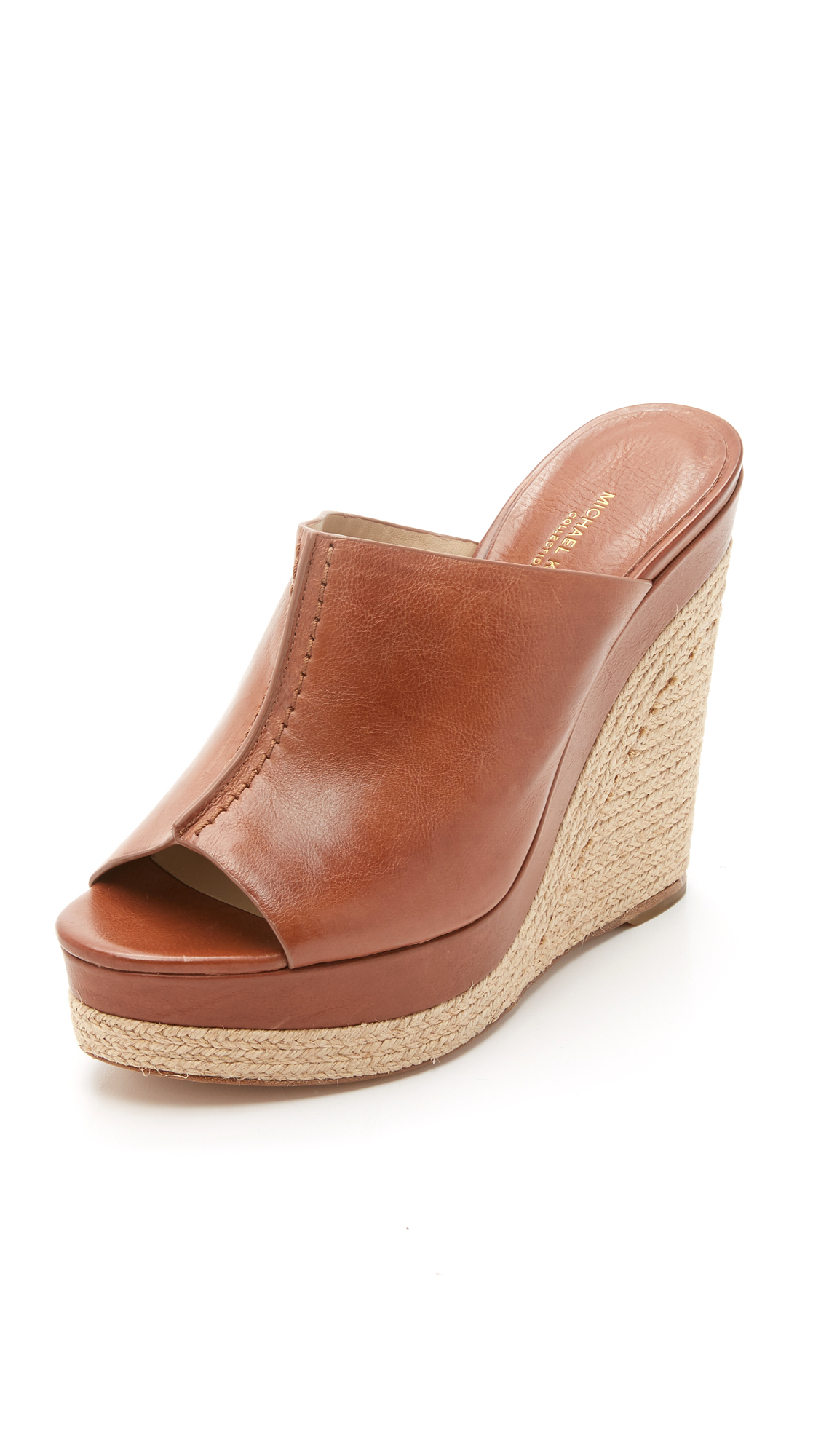 Lyst Michael Kors Charlize Wedge Mules In Brown