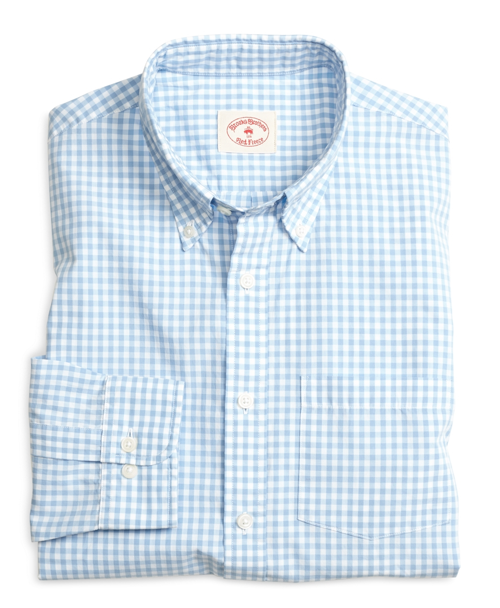 Brooks brothers gingham sport shirt in blue for men lyst for Brooks brothers sports shirts