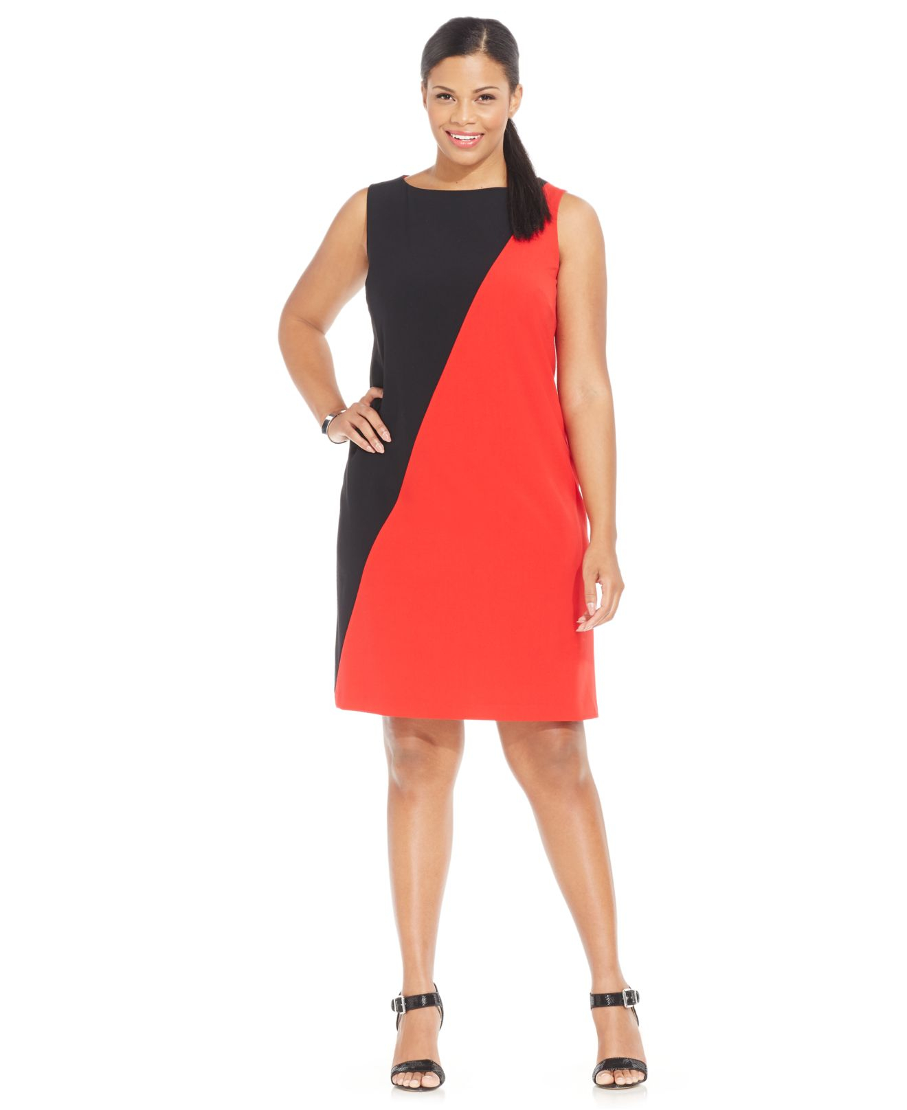 Lyst Nine West Plus Size Sleeveless Colorblock Sheath Dress In Red