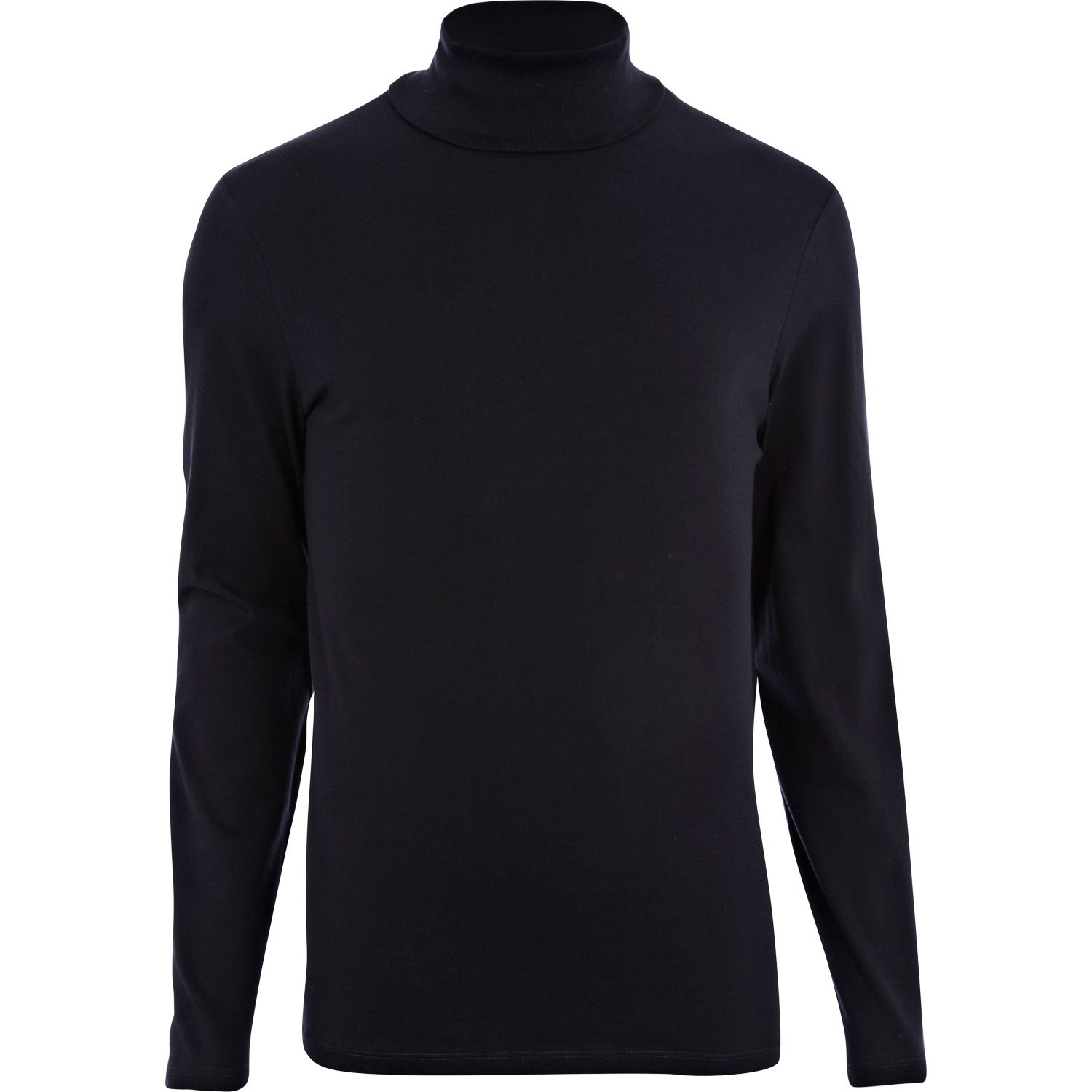 River Island Navy Roll Neck Long Sleeve Tshirt In Blue For