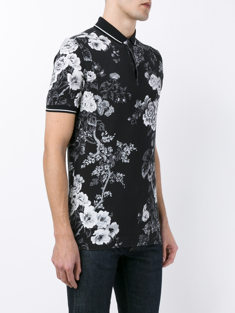 Dolce & gabbana Floral Print Polo Shirt in Black for Men ...