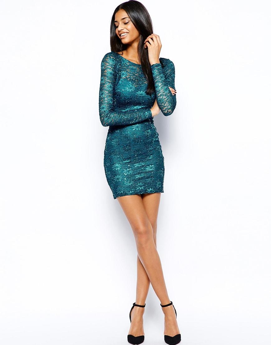 Dress lace dress long dress black dress sequins lace blue dress - Gallery