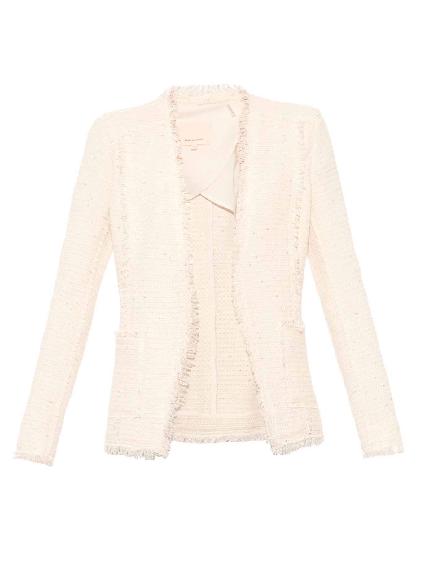 Rebecca taylor Sparkle Tweed Blazer in Natural   Lyst
