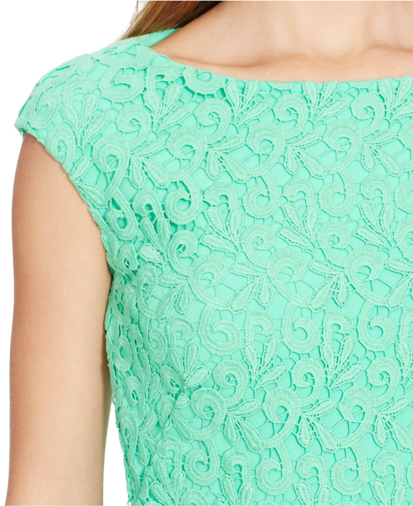 Green lace cap sleeve dress