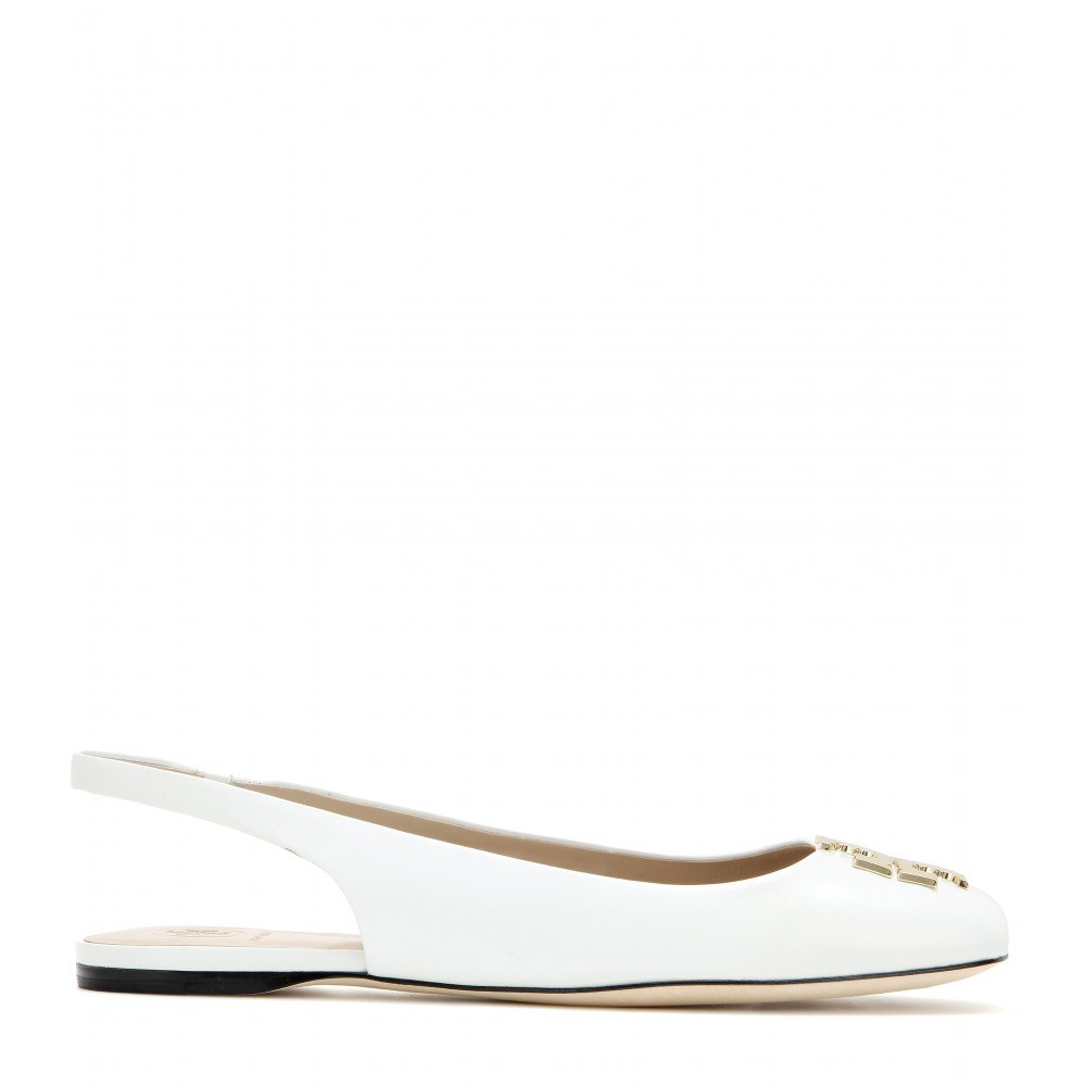 0a28722a90b7 Lyst - Tory Burch Classic T Leather Slingbacks in White