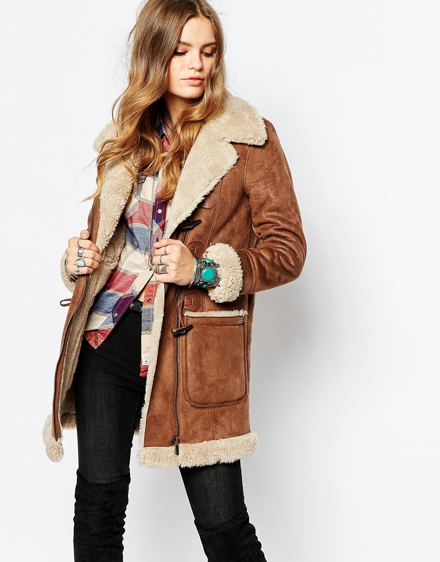 Pepe jeans Vintage Look Shearling Coat in Brown | Lyst