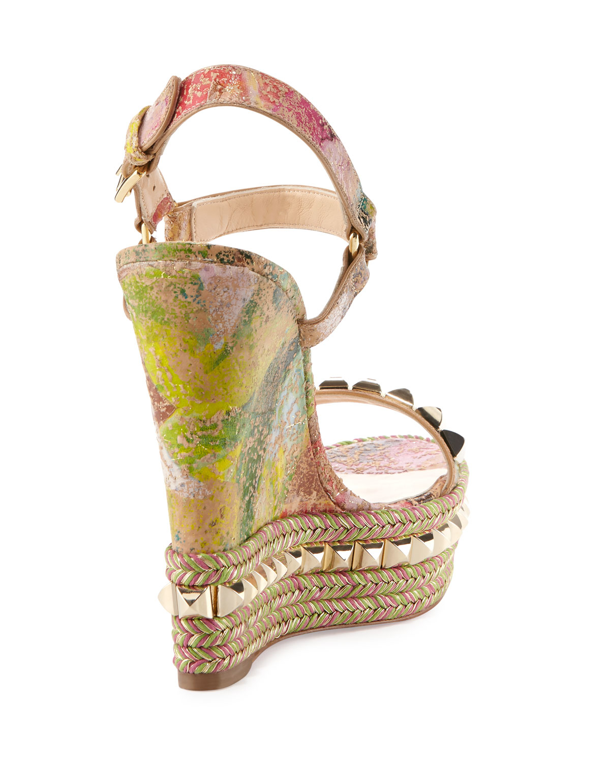 Christian louboutin Cataclou Blooming Cork Wedge Sandal in ...