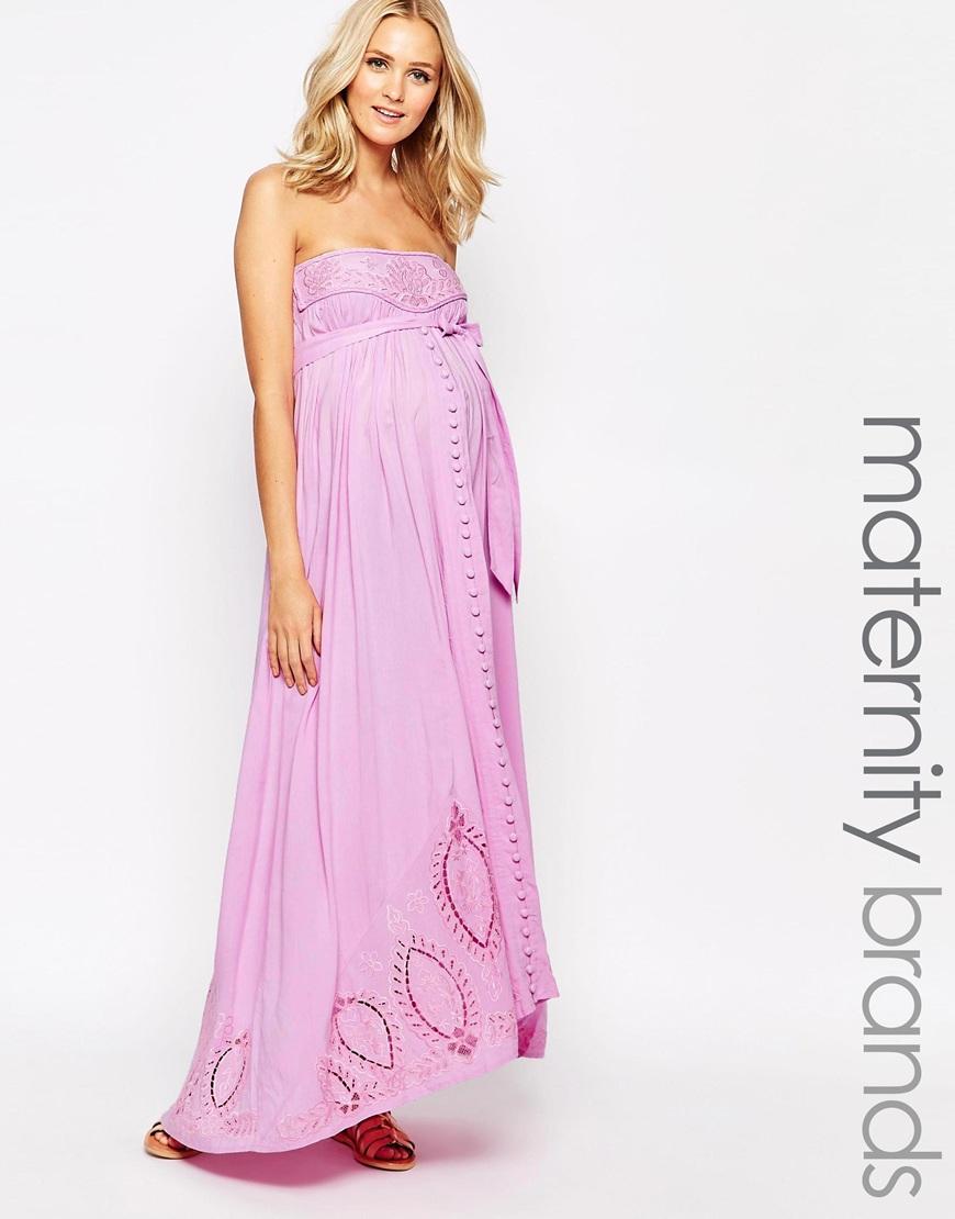 Asos maternity bandeau maxi dress in dip dye