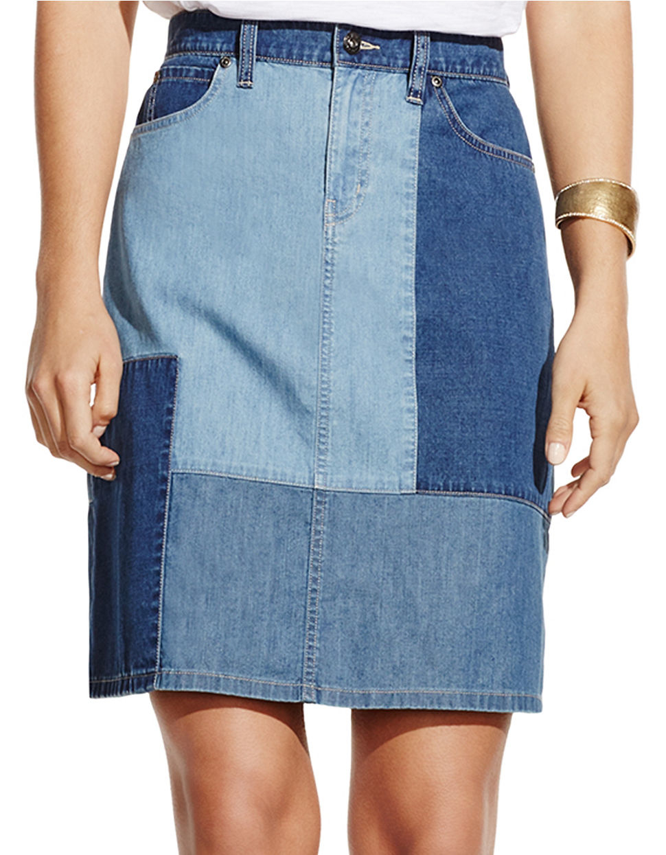 Two by vince camuto Colorblocked Denim Skirt | Lyst