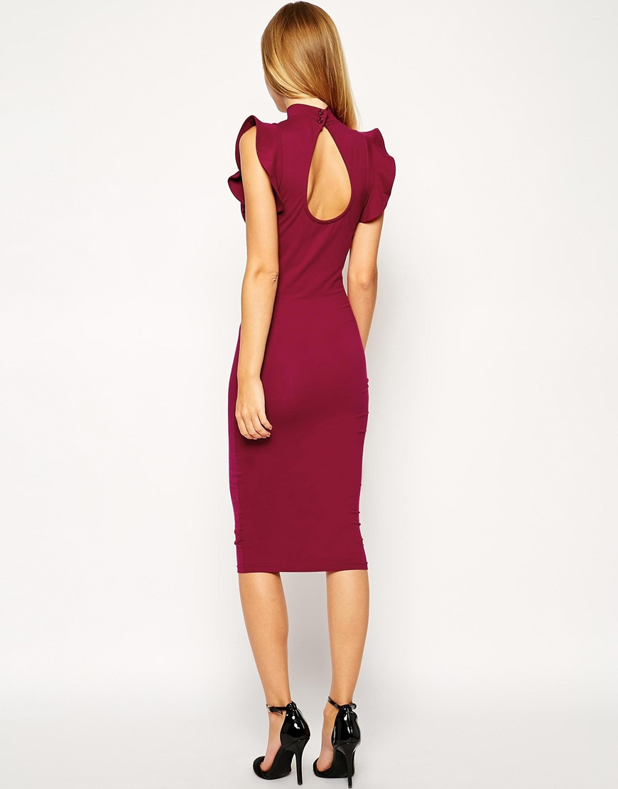 Lyst Asos Midi Bodycon Dress With High Neck And Frill