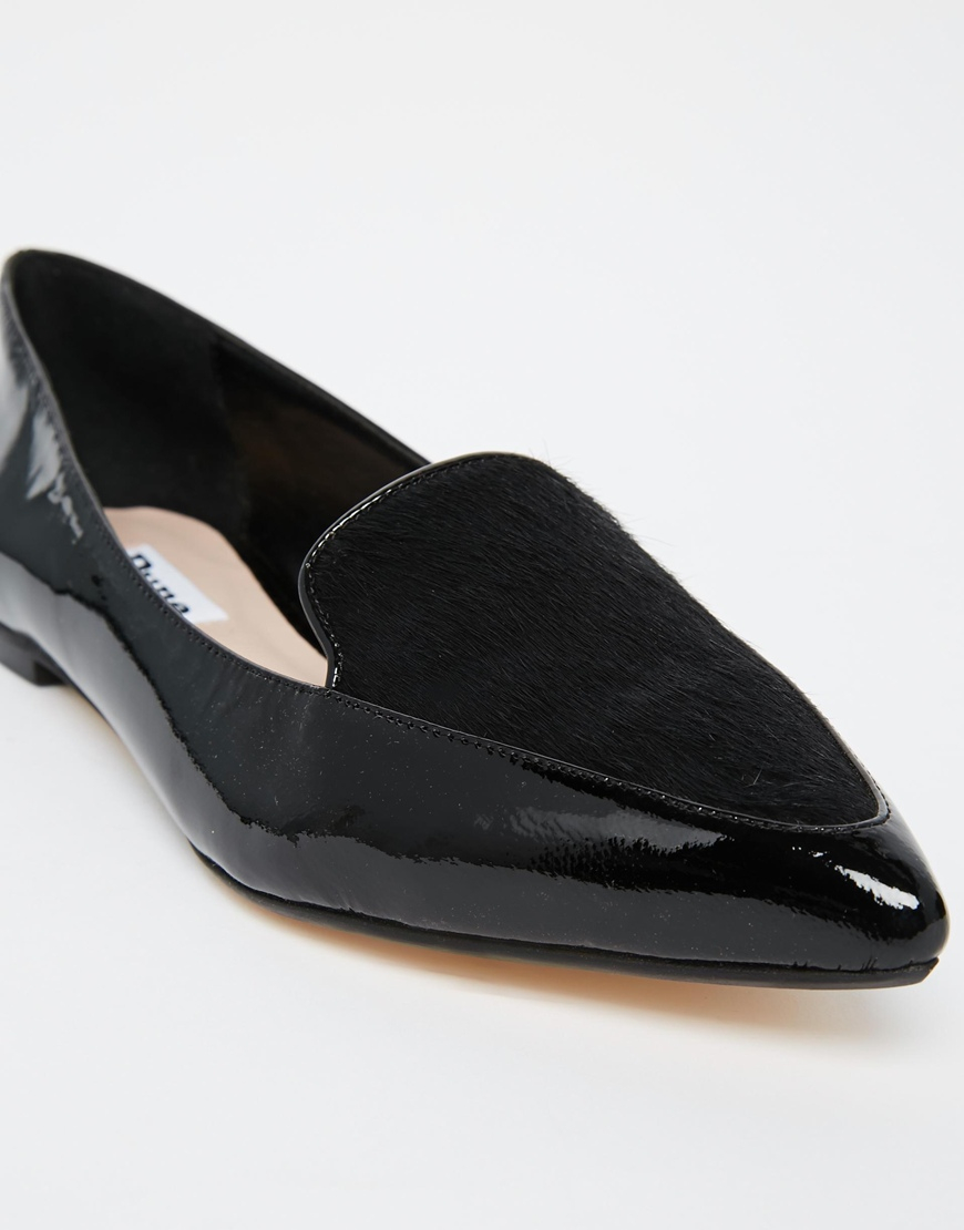 Lyst - Dune Austine Black Patent Pony Effect Ponited Flat Shoes in Black 6a2973093ef6