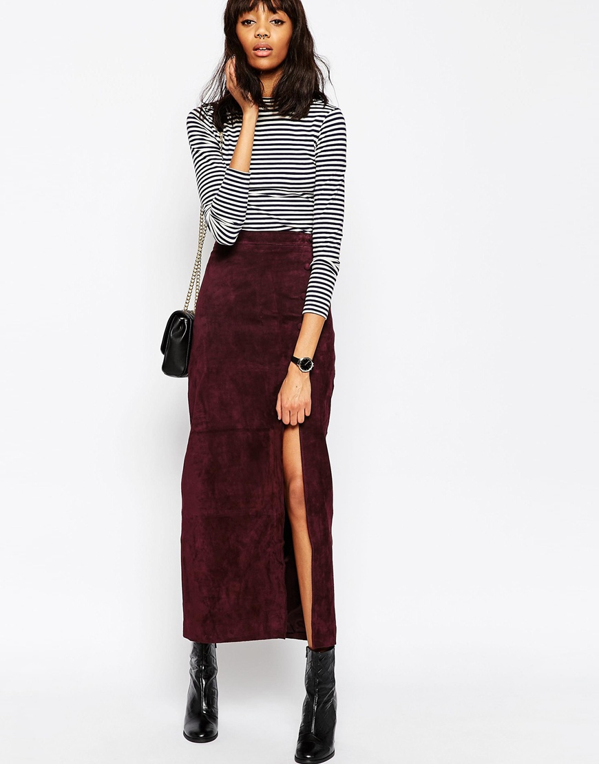 asos maxi skirt with thigh split in suede in purple. Black Bedroom Furniture Sets. Home Design Ideas
