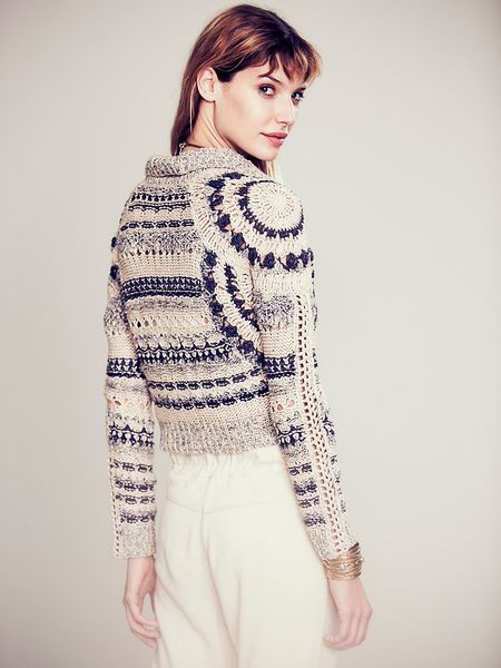Free People Crochet Moto Jacket In White Midnight Combo
