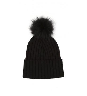 Lyst - Mackage Mac Black Knit Beanie Hat With Fur Pom Pom in Black eab09fe710d