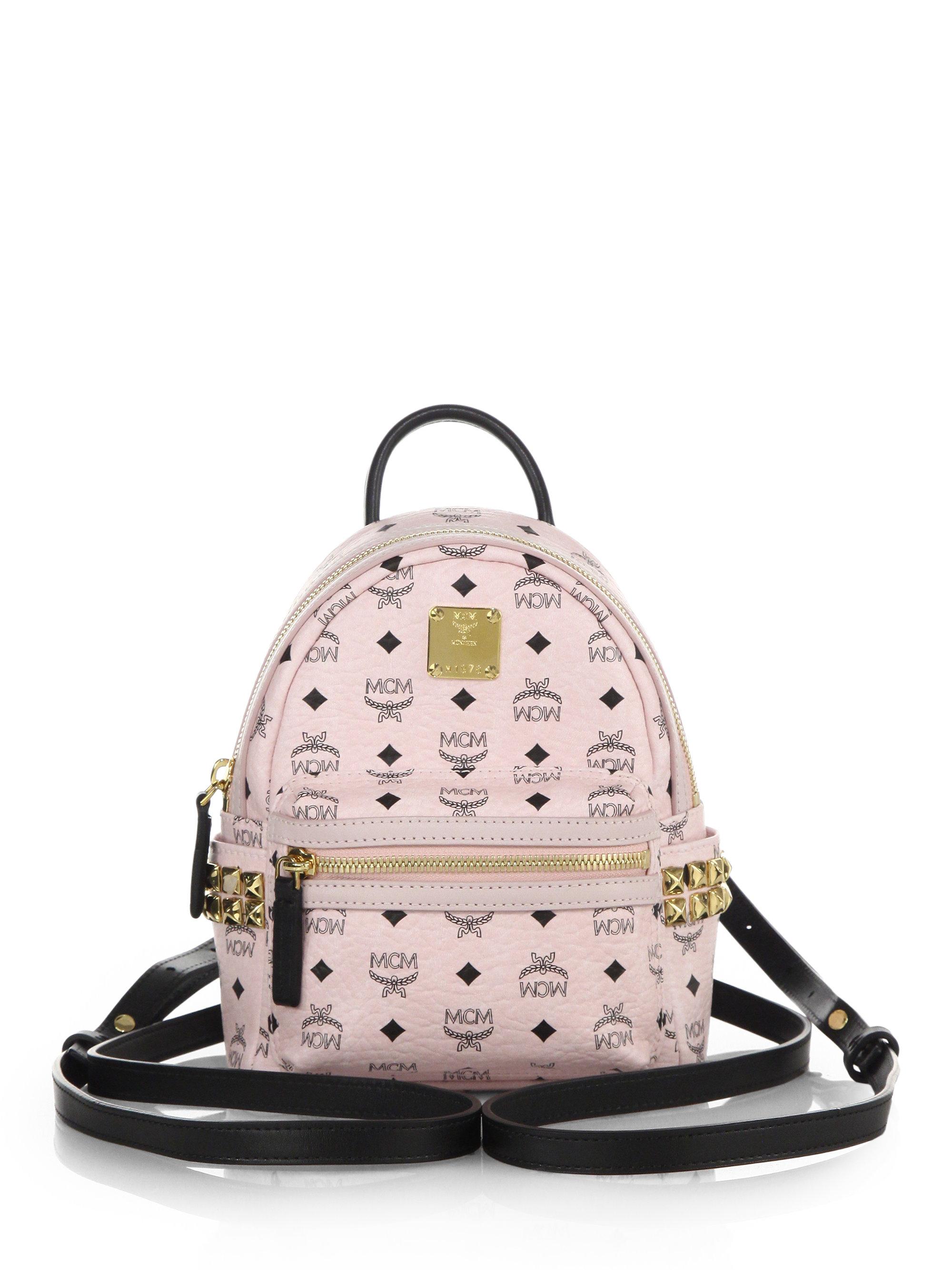 e4851cd884eb MCM Stark Side Stud X Mini Coated Canvas Backpack in White - Lyst