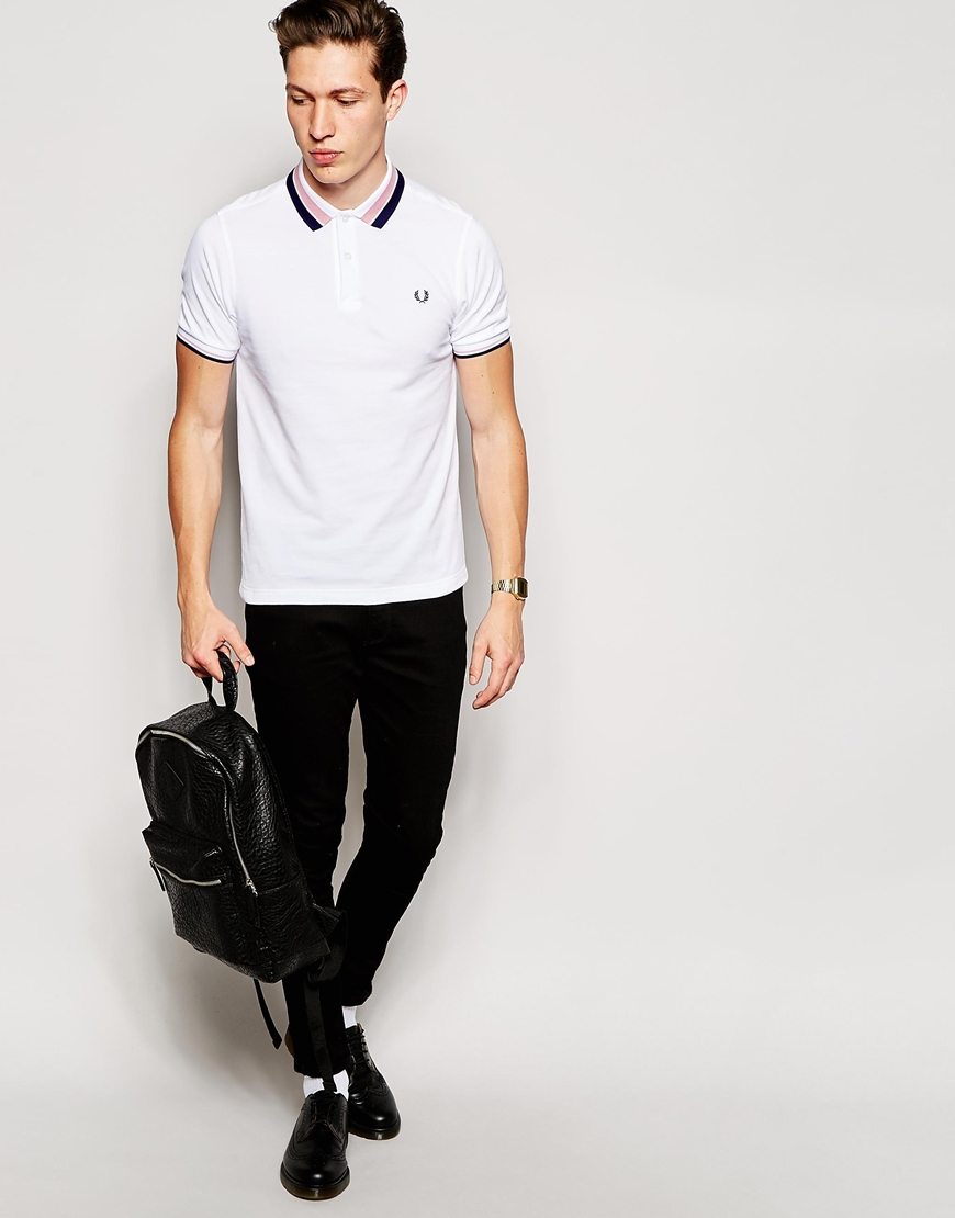 lyst fred perry polo shirt with bold tipping slim fit in white for men. Black Bedroom Furniture Sets. Home Design Ideas