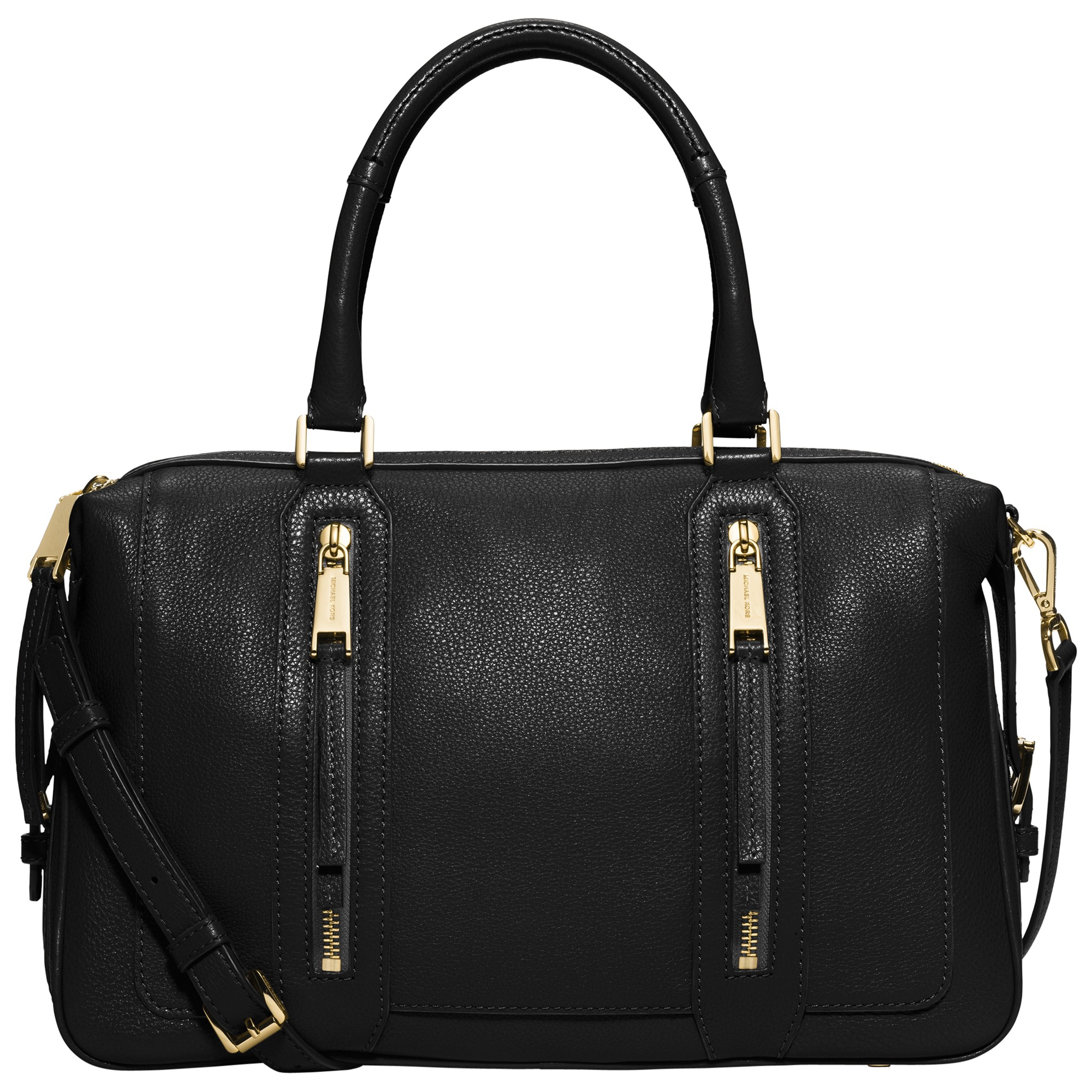 19d038cff255e9 ... promo code for michael michael kors julia large leather satchel in  black lyst bf0ac 8bfef
