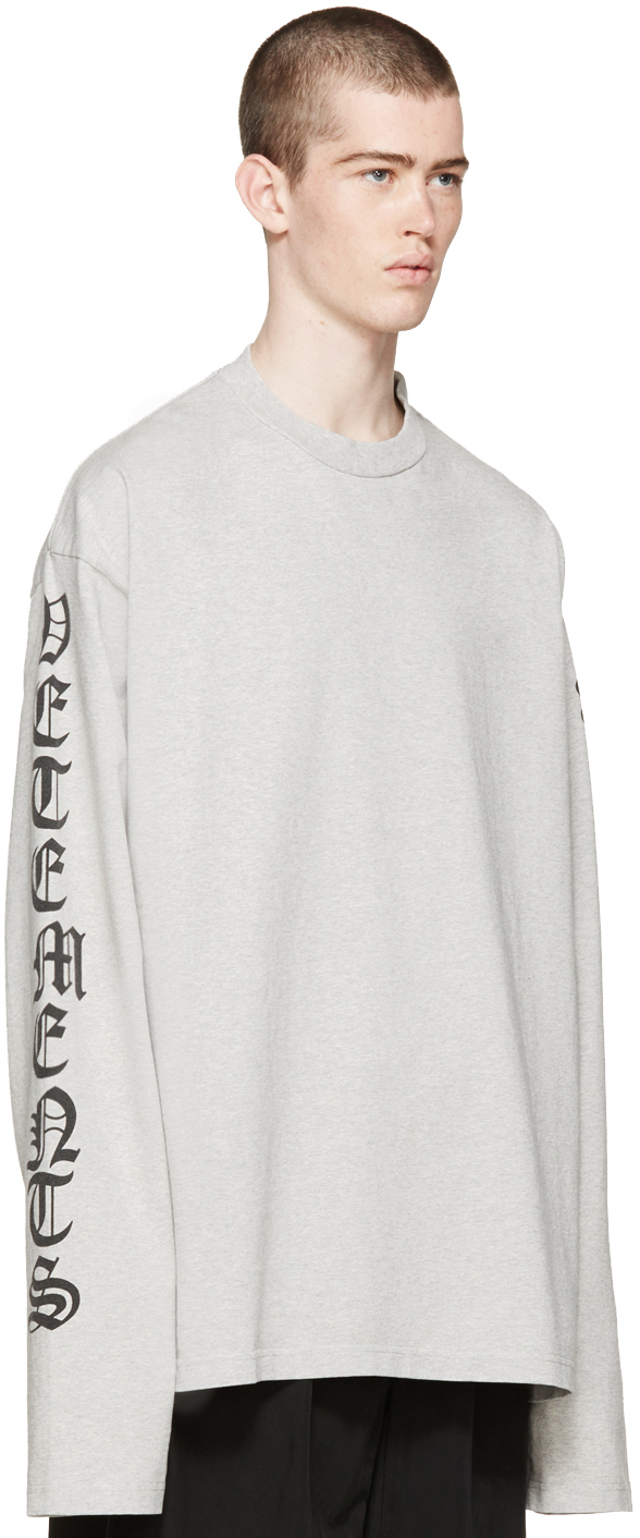 Vetements Grey Oversized Logo Sleeve Pullover in White for Men | Lyst