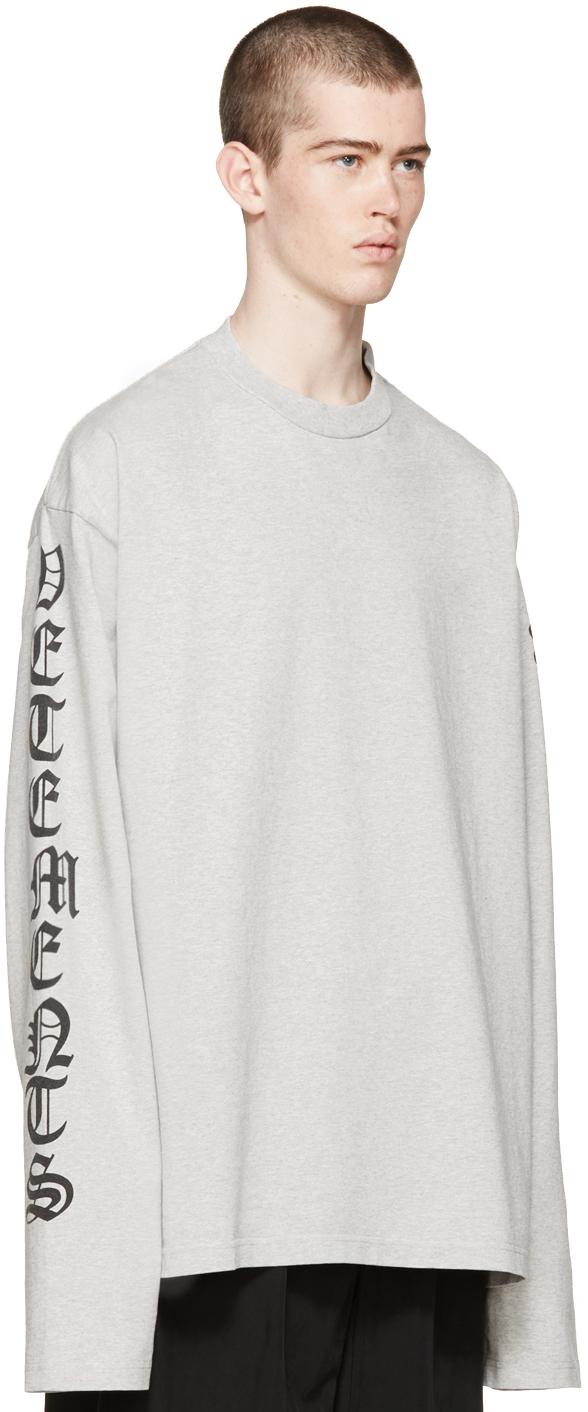 Vetements Grey Oversized Logo Sleeve Pullover in White for Men | Lyst
