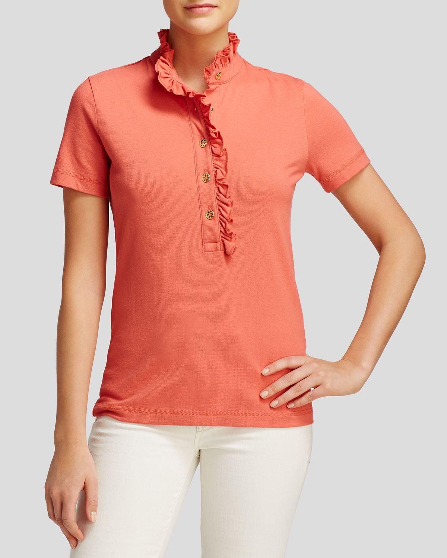 Tory Burch Lidia Ruffle Trim Polo Shirt In Orange Spiced