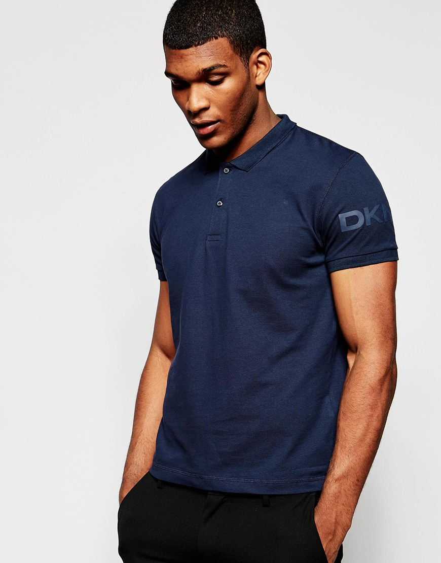 Dkny Polo Shirt Sleeve Logo in Blue for Men