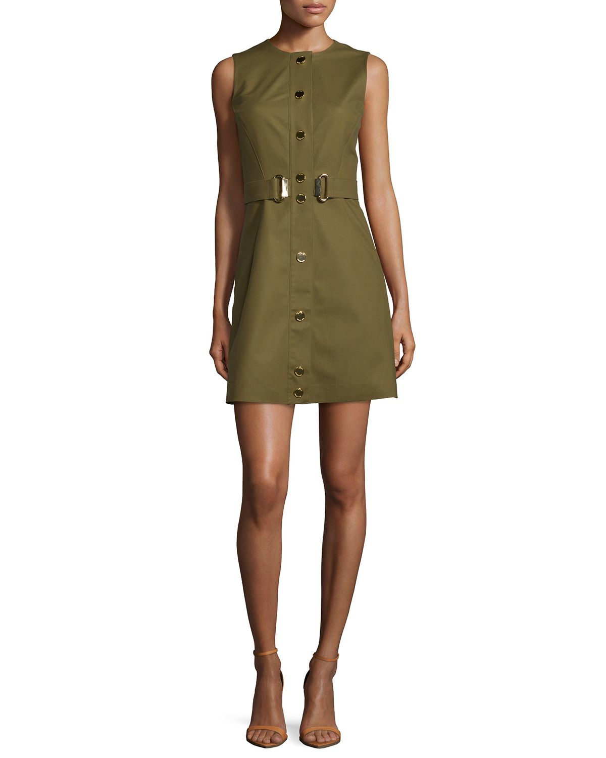 michael michael kors green sleeveless belted fit flare