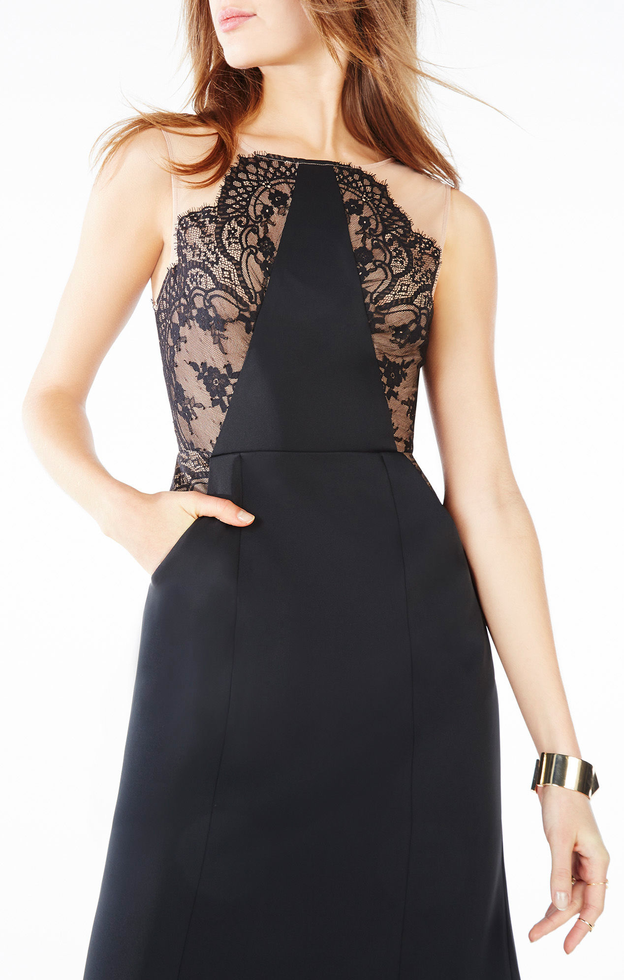 Lyst - Bcbgmaxazria Lilyana Lace-blocked Gown in Black