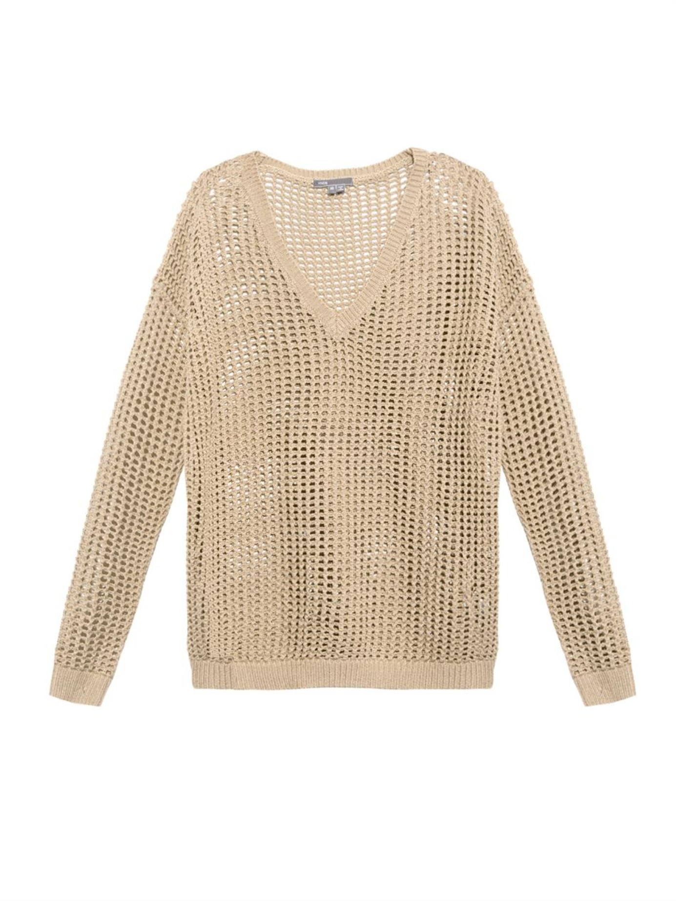 Vince Grid Mesh Open-knit Cotton Sweater in Natural | Lyst