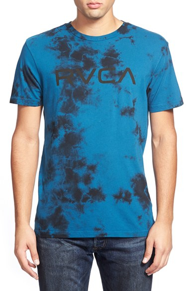 Lyst rvca 39 big 39 tie dye graphic t shirt in blue for men for Black and blue tie dye t shirts