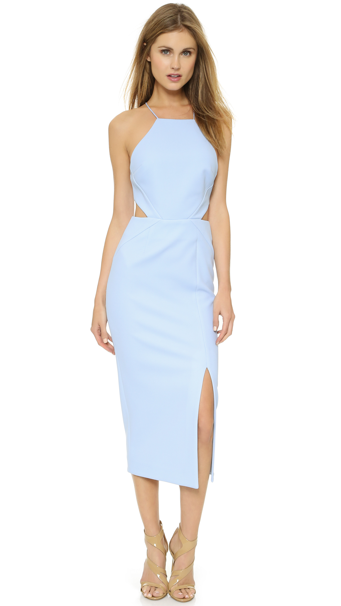 478e837c4952 Lyst - Nicholas Cut-Out Fitted Midi Dress in Blue