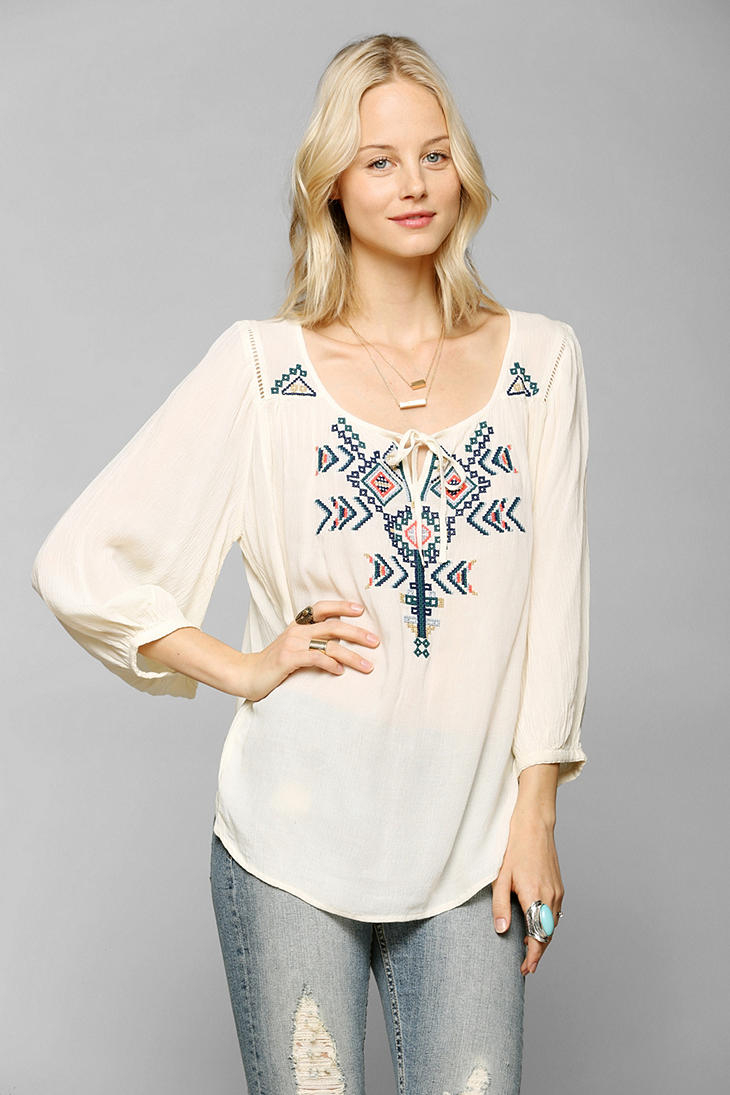f4580998 Lyst - Urban Outfitters Ecote Arizona Embroidered Tunic in Natural