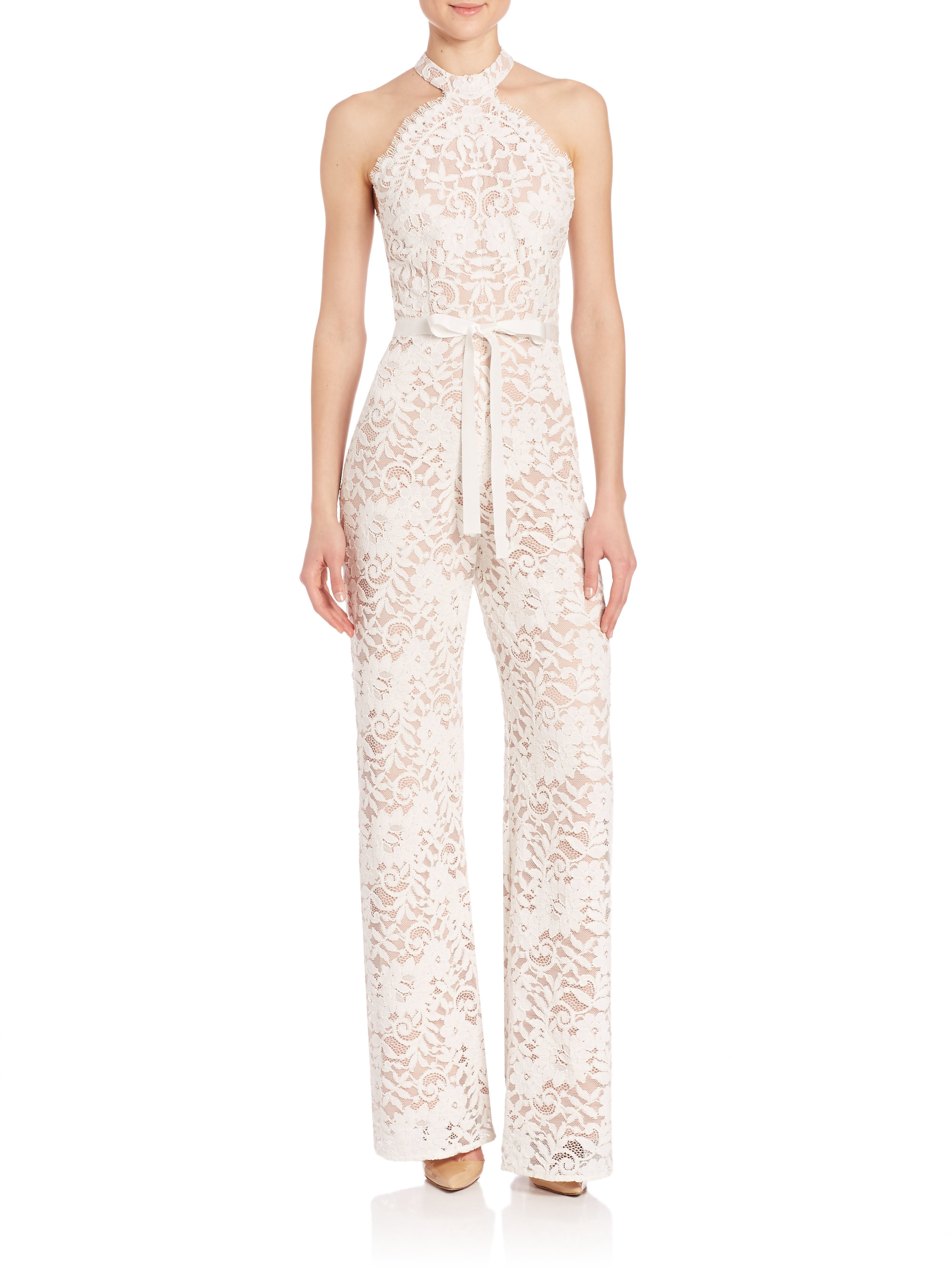 Lyst Alexis Rene Lace Jumpsuit In White