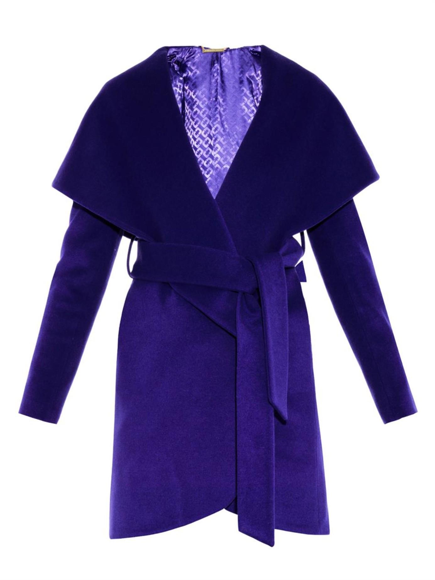 Lyst Diane Von Furstenberg Wrap Wool Coat In Purple