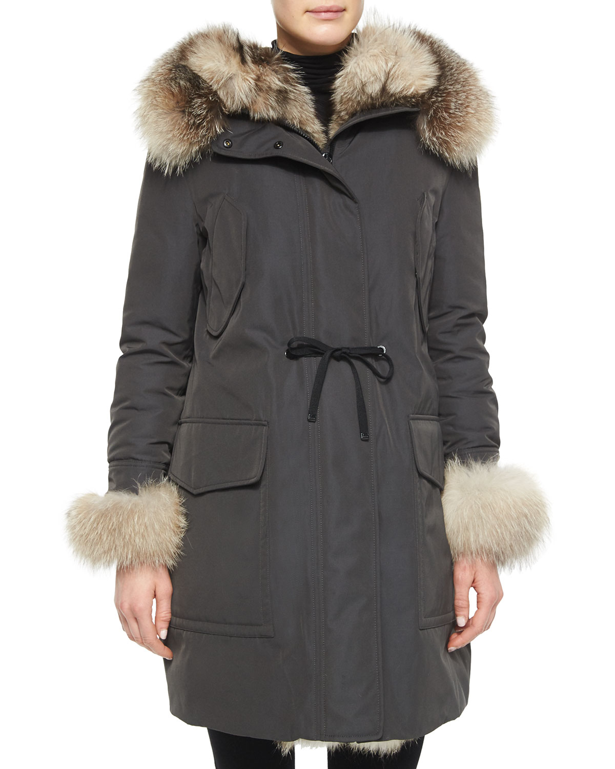 4cc403ccd lace up in b8f4d 2cd1d moncler fur trimmed hooded coat ...
