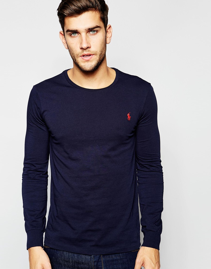 Polo Ralph Lauren T Shirt With Long Sleeves In Navy In