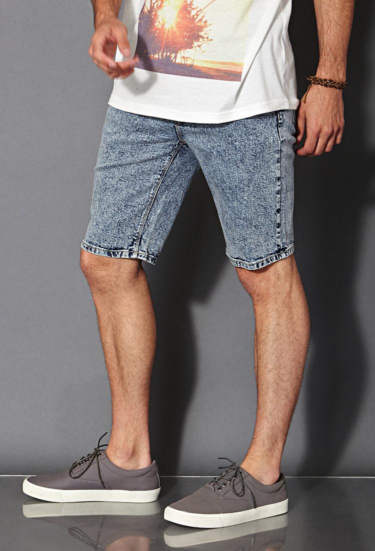Forever 21 Acid Wash Denim Shorts in Blue for Men | Lyst
