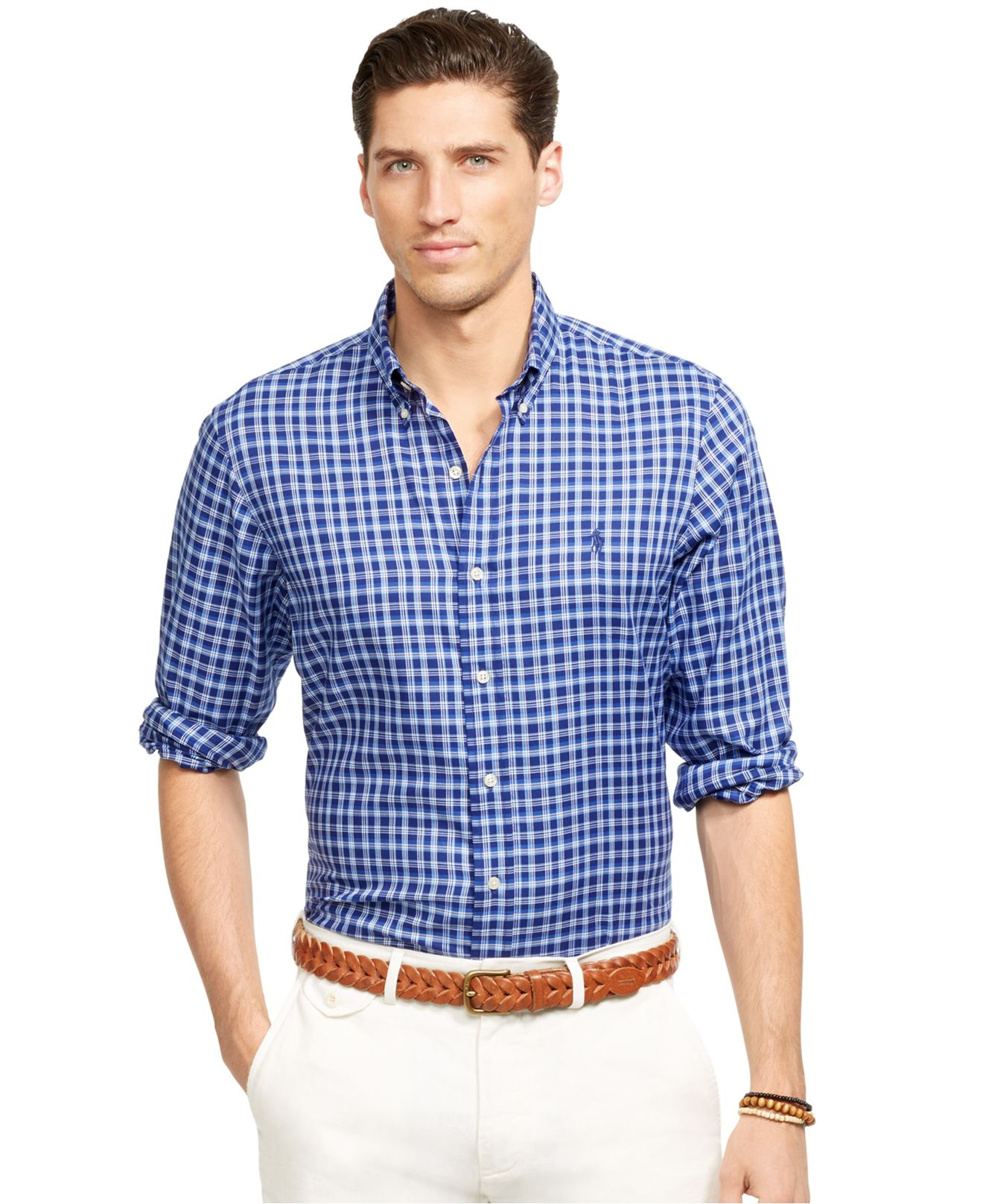 d4244ecb91ac ... cheapest lyst polo ralph lauren plaid oxford shirt in blue for men  6c1ba e8190