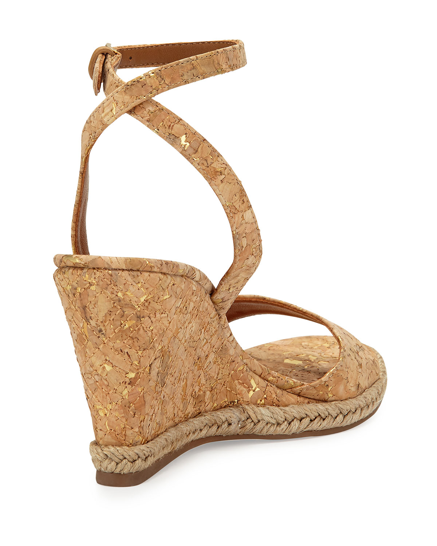burch marion quilted cork wedge sandals in metallic