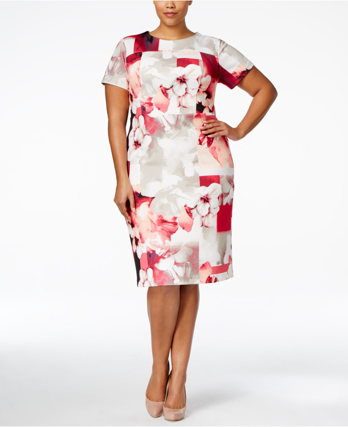 cf2af37fe00 Lyst - Calvin Klein Plus Size Floral-print Scuba Sheath Dress