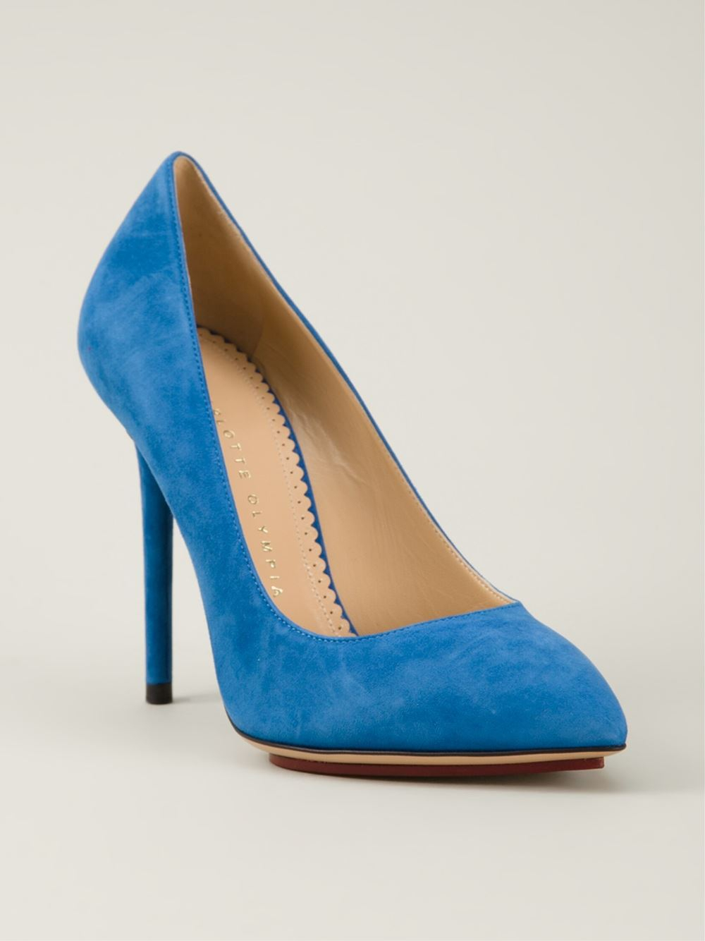 charlotte olympia 39 monroe 39 pumps in blue lyst. Black Bedroom Furniture Sets. Home Design Ideas