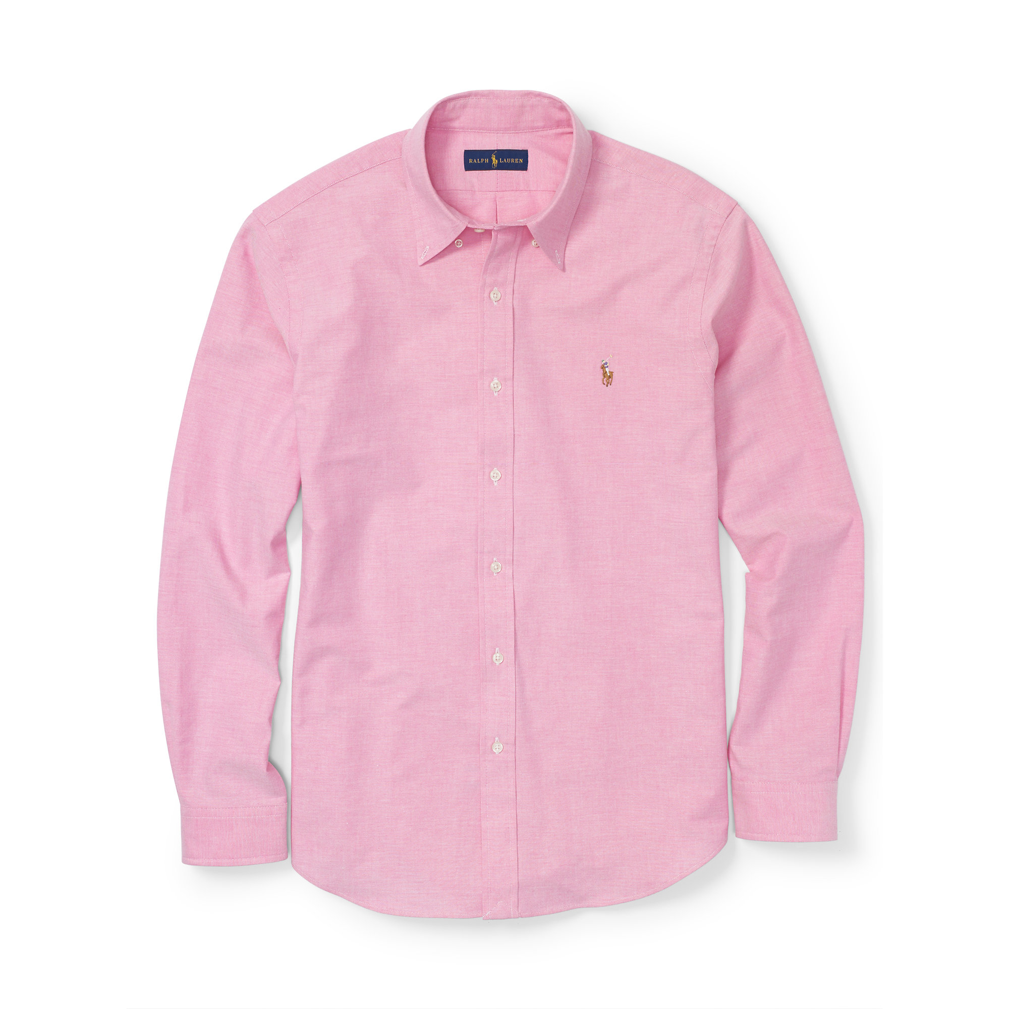 Pink pony stretch oxford shirt in pink for men lyst for Pink oxford shirt men