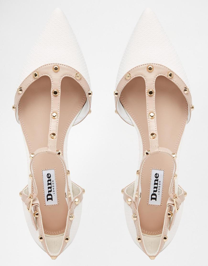 Dune Heti White Stud Pointed Flat Shoes