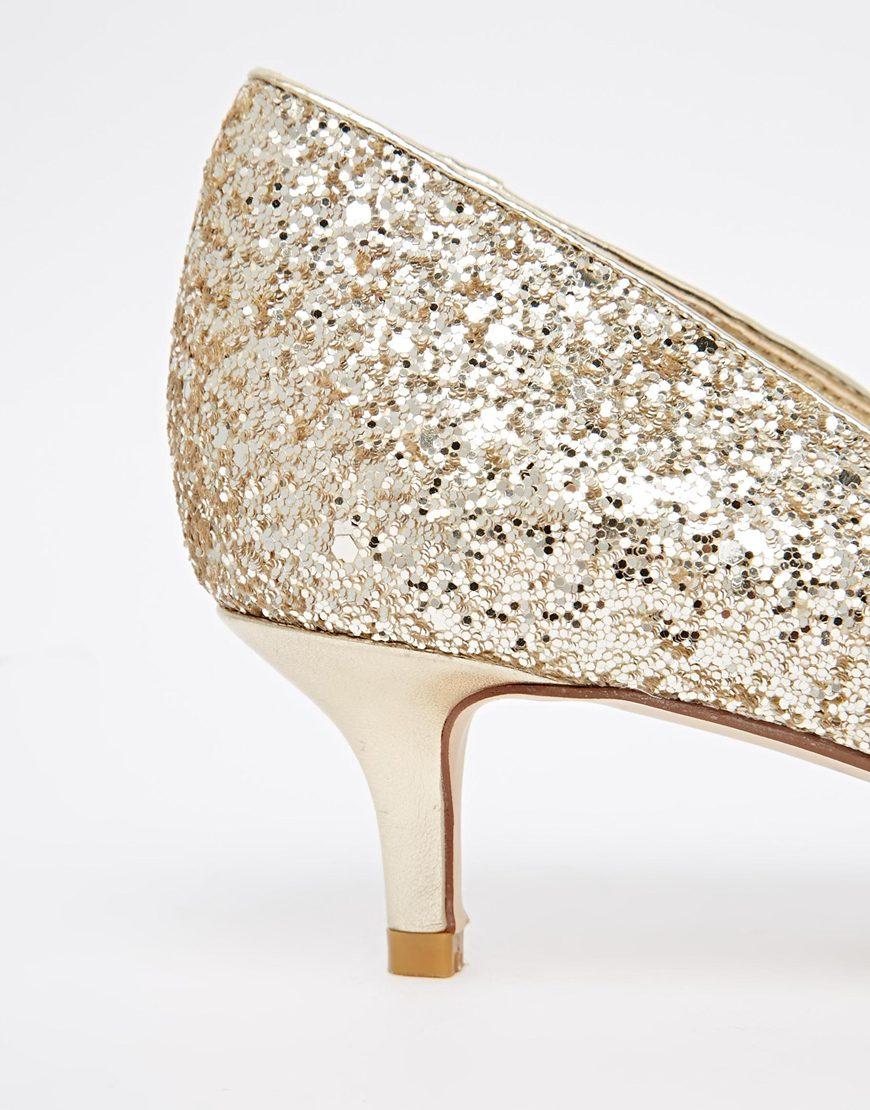 60025494e15 Lyst - Dune Blitzen Gold Glitter Kitten Heel Pumps in Metallic