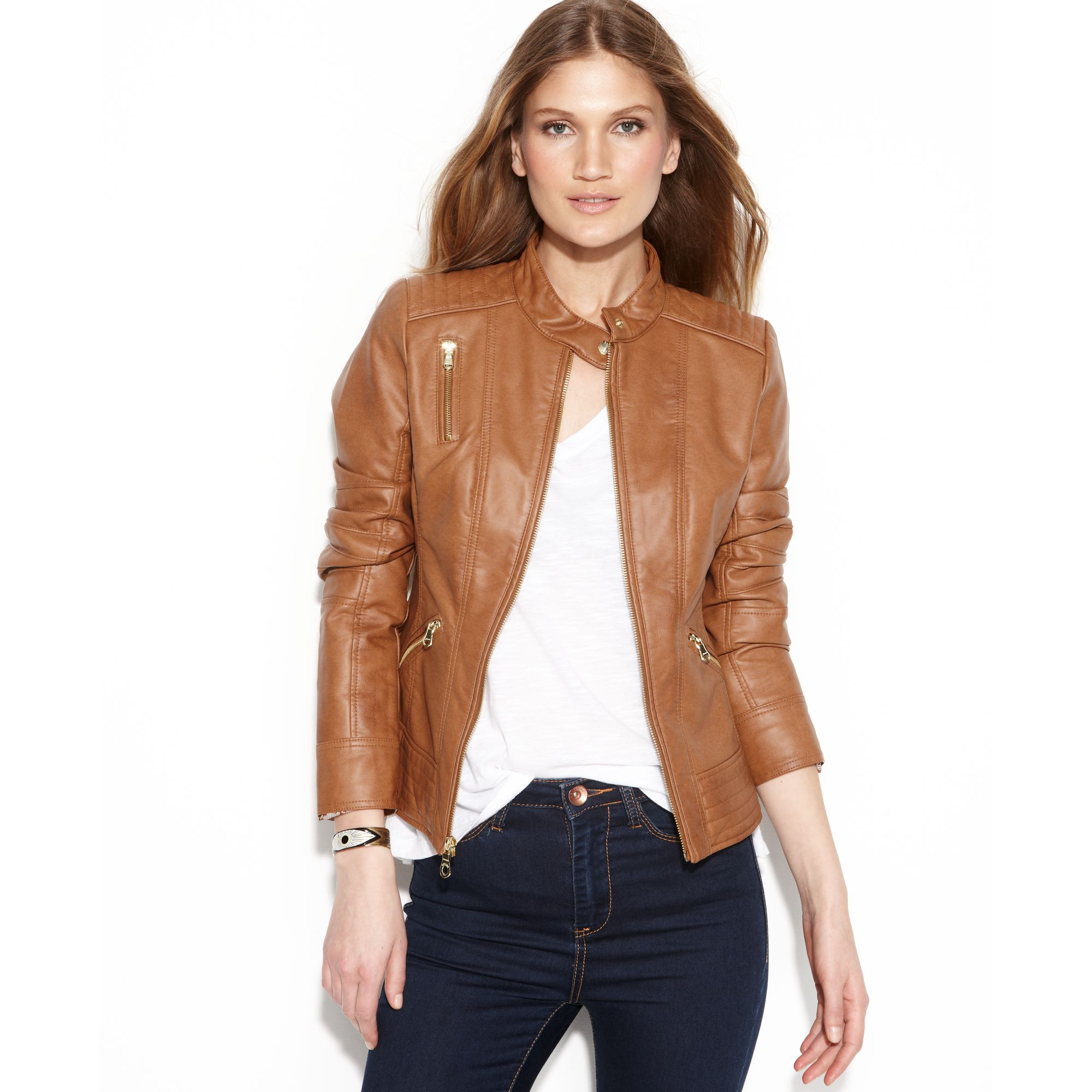 Guess Quilteddetail Fauxleather Jacket in Brown | Lyst