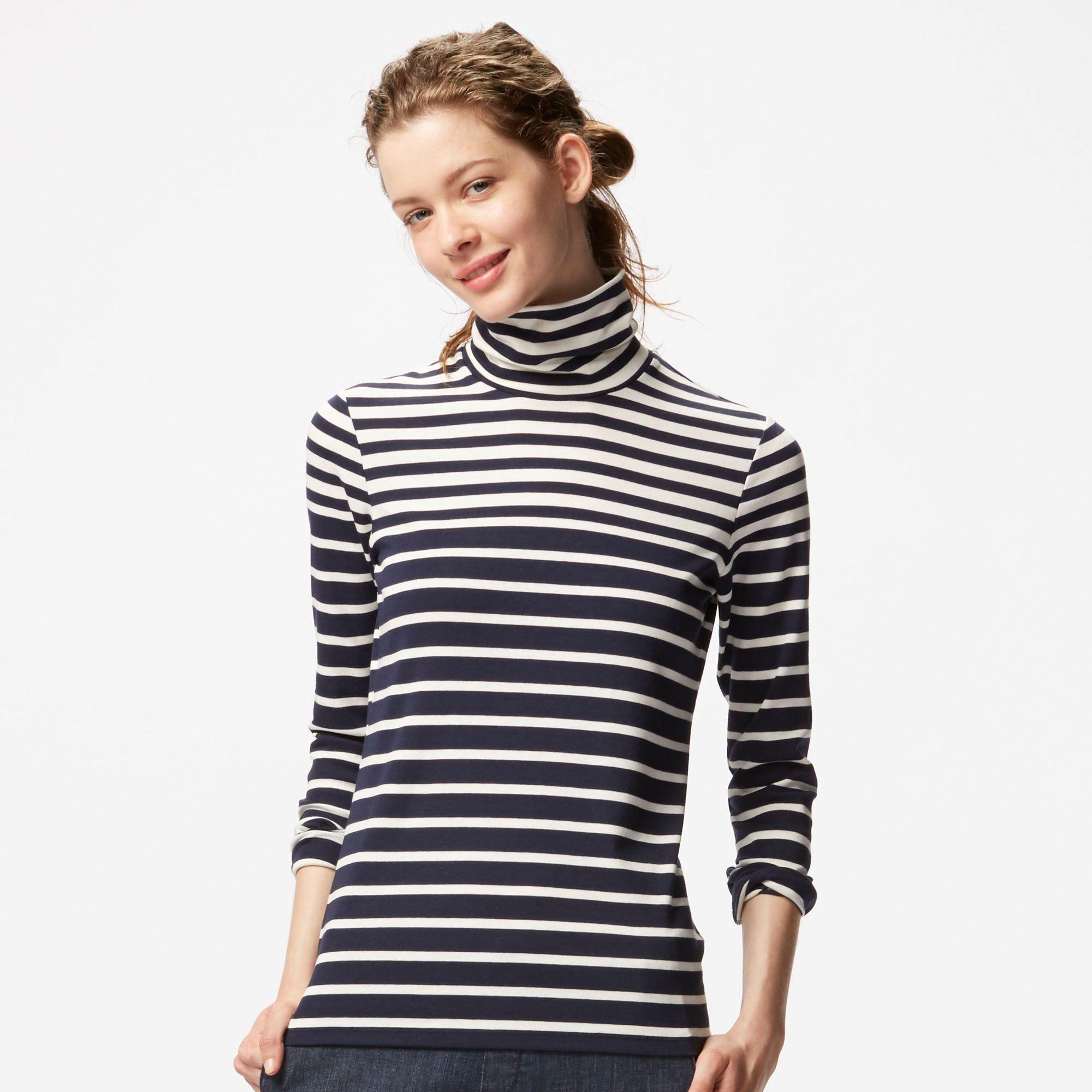 c5dc30ab Lyst - Uniqlo Women Supima Cotton Modal Turtleneck Long Sleeve T ...