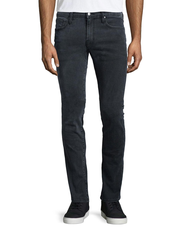 frame l 39 homme fade skinny leg jeans in gray for men lyst. Black Bedroom Furniture Sets. Home Design Ideas