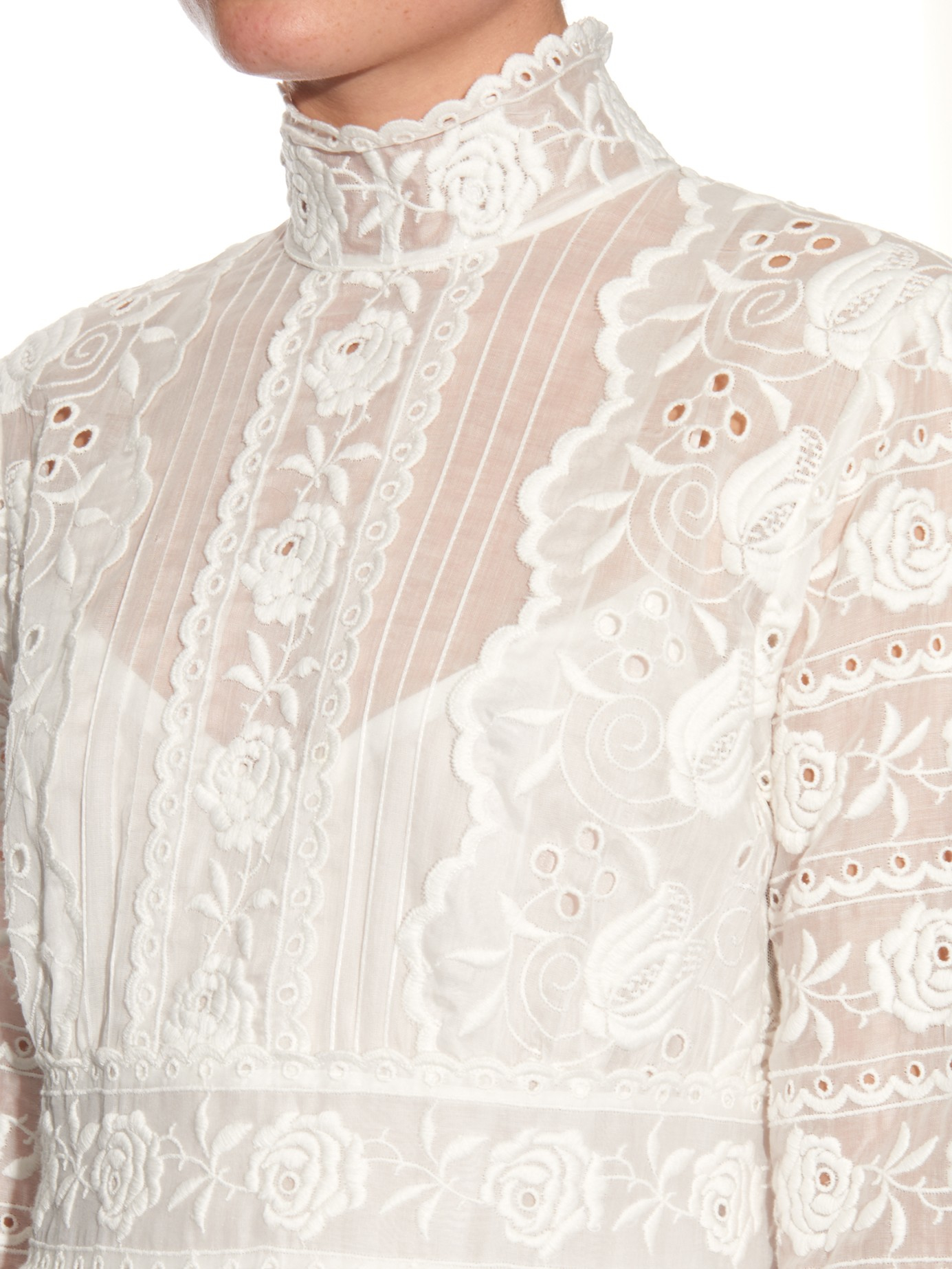 Lyst Marc Jacobs High Neck Embroidered Silk Broderie