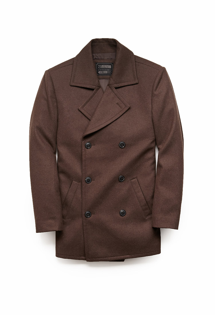 Forever 21 Wool-blend Peacoat in Brown for Men | Lyst