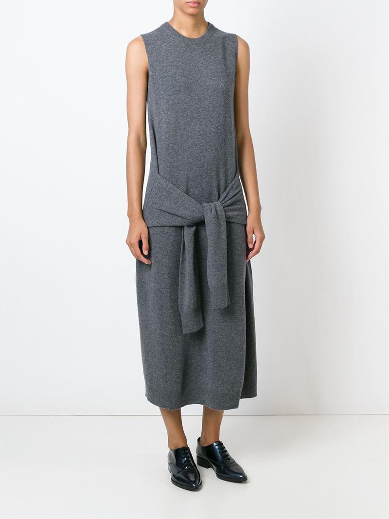 Joseph Sleeve Knot Maxi Knit Dress in Gray