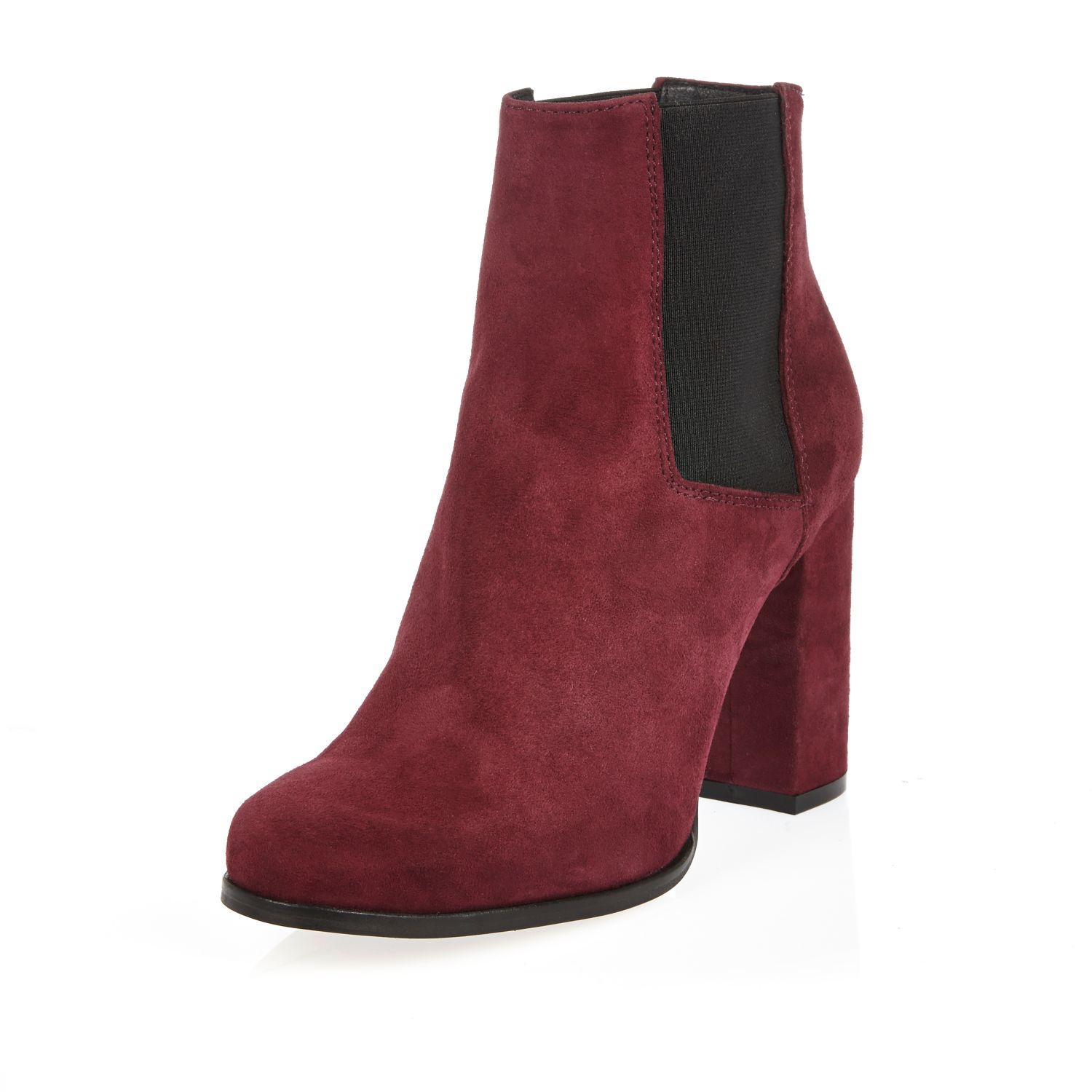River island Dark Red Suede Heeled Ankle Boots in Red | Lyst